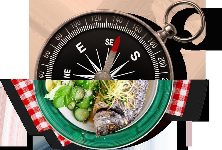 Zdjęcie przedstawiające talerz z posiłkiem, którego górną połowę zastąpiła połowa kompasu
